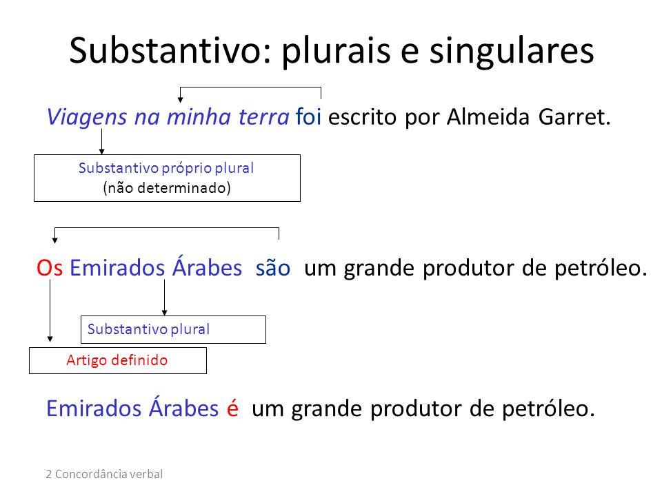 Viagens na minha terra foi escrito por Almeida Garret. Substantivo próprio plural (não determinado) Os Emirados Árabes são um grande produtor de petró