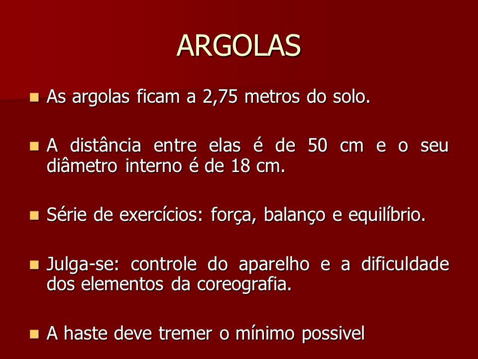 ARGOLAS As argolas ficam a 2,75 metros do solo. As argolas ficam a 2,75 metros do solo. A distância entre elas é de 50 cm e o seu diâmetro interno é d