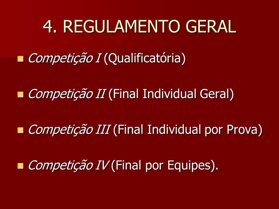 4. REGULAMENTO GERAL Competição I (Qualificatória) Competição I (Qualificatória) Competição II (Final Individual Geral) Competição II (Final Individua