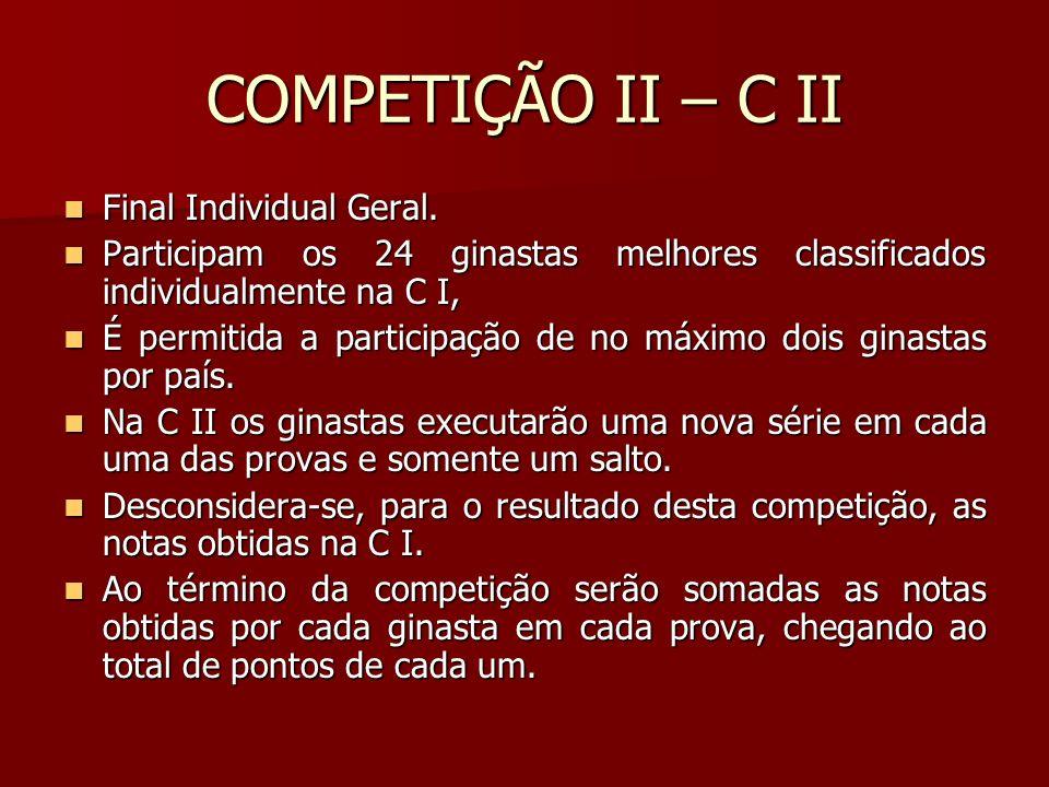 COMPETIÇÃO II – C II Final Individual Geral. Final Individual Geral. Participam os 24 ginastas melhores classificados individualmente na C I, Particip