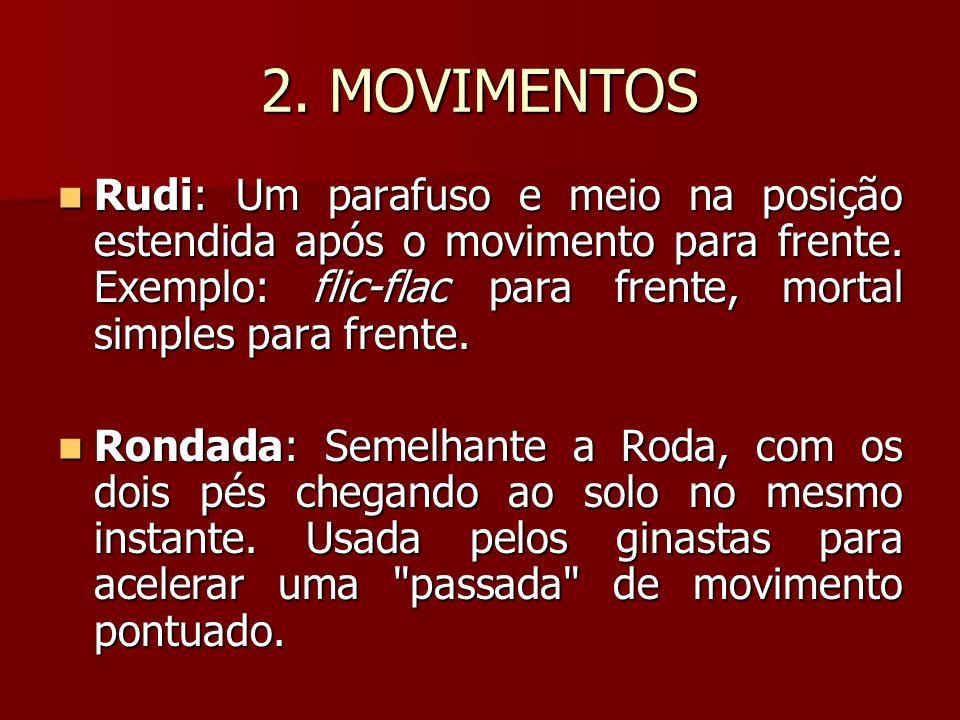 2. MOVIMENTOS Rudi: Um parafuso e meio na posição estendida após o movimento para frente. Exemplo: flic-flac para frente, mortal simples para frente.