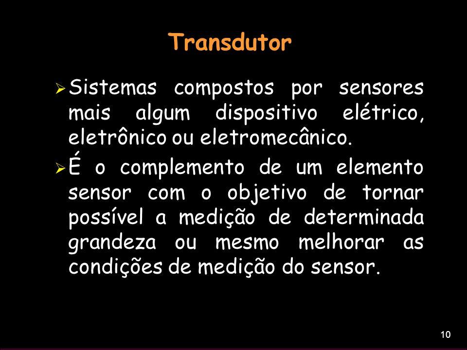 10 Transdutor Sistemas compostos por sensores mais algum dispositivo elétrico, eletrônico ou eletromecânico. É o complemento de um elemento sensor com
