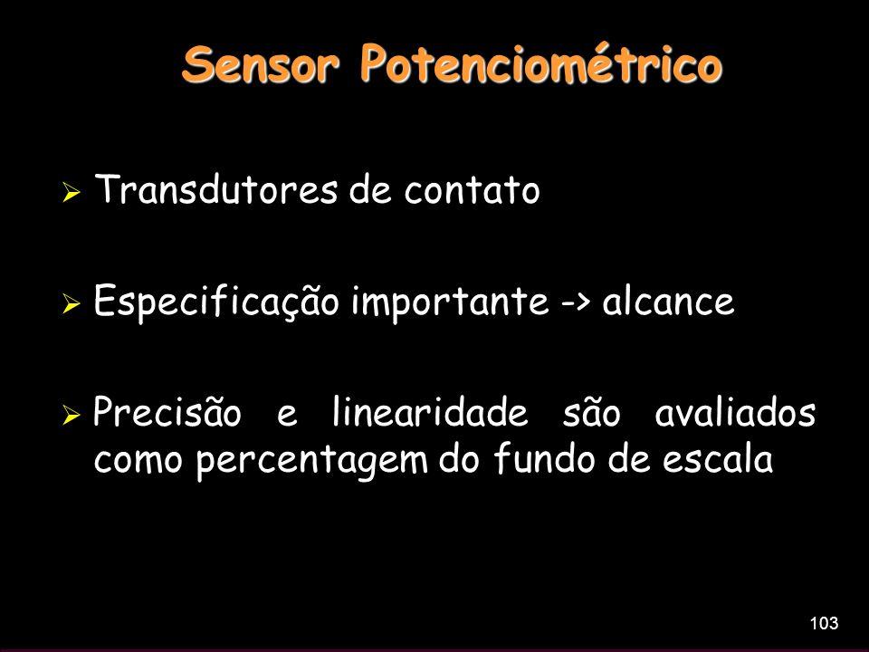 103 Sensor Potenciométrico Transdutores de contato Especificação importante -> alcance Precisão e linearidade são avaliados como percentagem do fundo