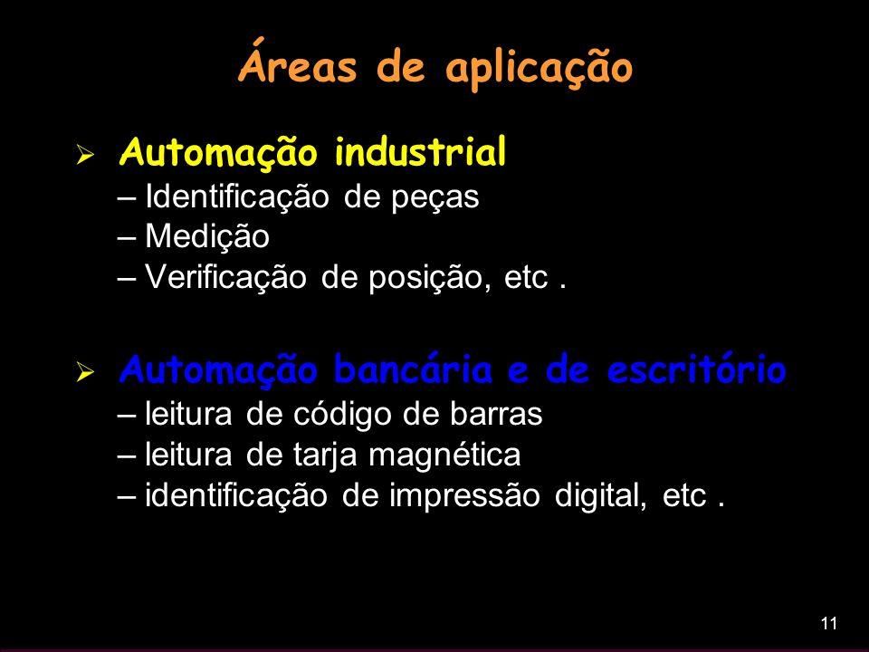 11 Áreas de aplicação Automação industrial –Identificação de peças –Medição –Verificação de posição, etc. Automação bancária e de escritório –leitura
