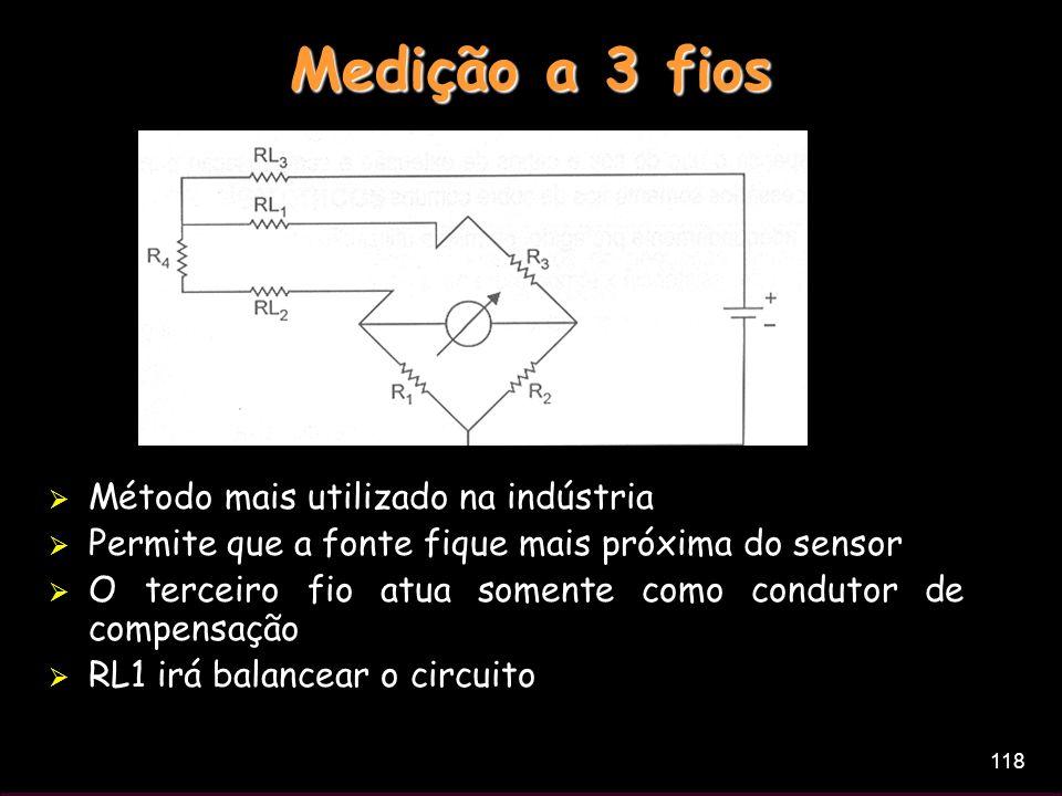 118 Medição a 3 fios Método mais utilizado na indústria Permite que a fonte fique mais próxima do sensor O terceiro fio atua somente como condutor de