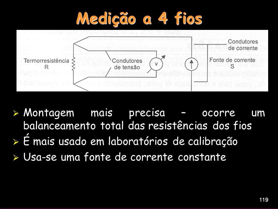 119 Medição a 4 fios Montagem mais precisa – ocorre um balanceamento total das resistências dos fios É mais usado em laboratórios de calibração Usa-se