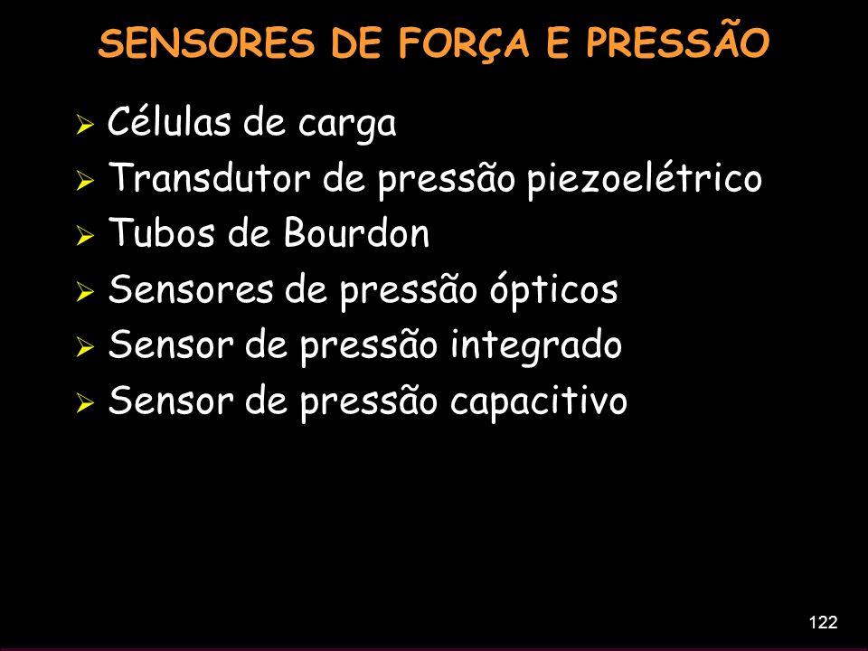 122 SENSORES DE FORÇA E PRESSÃO Células de carga Transdutor de pressão piezoelétrico Tubos de Bourdon Sensores de pressão ópticos Sensor de pressão in