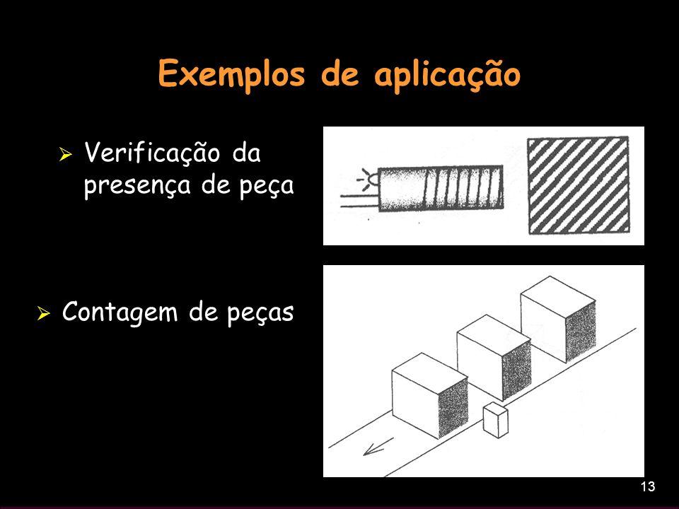 13 Exemplos de aplicação Verificação da presença de peça Contagem de peças
