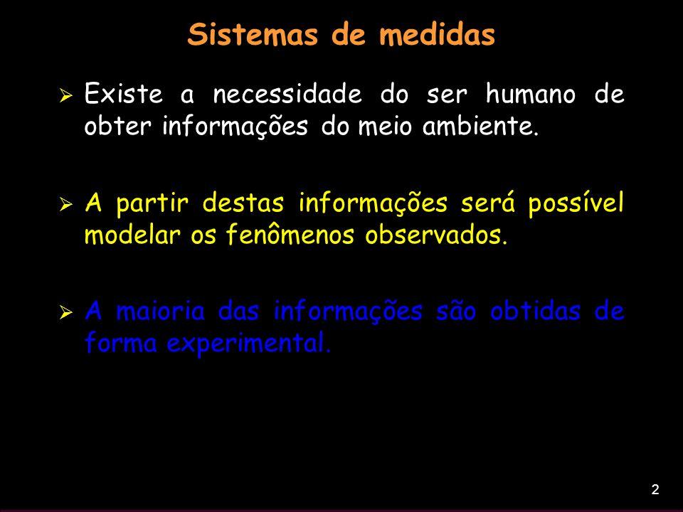 2 Sistemas de medidas Existe a necessidade do ser humano de obter informações do meio ambiente. A partir destas informações será possível modelar os f