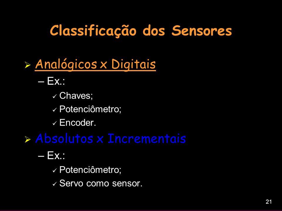 21 Classificação dos Sensores Analógicos x Digitais –Ex.: Chaves; Potenciômetro; Encoder. Absolutos x Incrementais –Ex.: Potenciômetro; Servo como sen