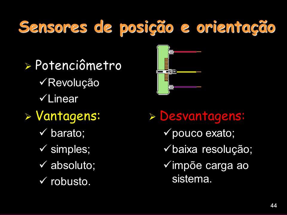 44 Sensores de posição e orientação Potenciômetro Revolução Linear Vantagens: barato; simples; absoluto; robusto. Desvantagens: pouco exato; baixa res