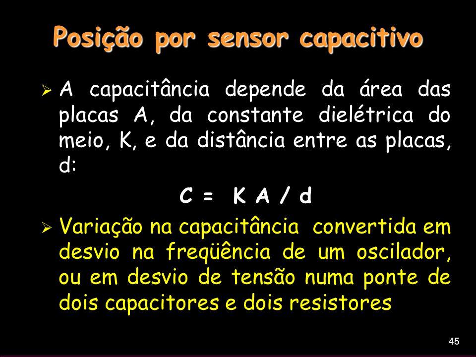 45 Posição por sensor capacitivo A capacitância depende da área das placas A, da constante dielétrica do meio, K, e da distância entre as placas, d: C