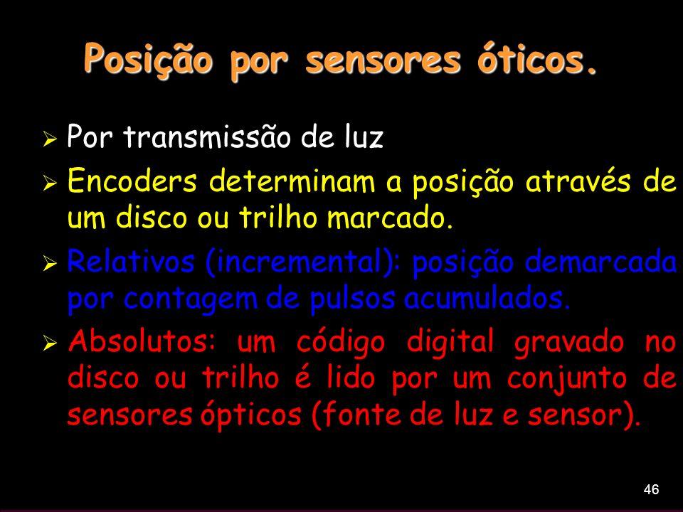 46 Posição por sensores óticos. Por transmissão de luz Encoders determinam a posição através de um disco ou trilho marcado. Relativos (incremental): p