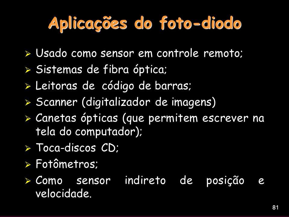 81 Usado como sensor em controle remoto; Sistemas de fibra óptica; Leitoras de código de barras; Scanner (digitalizador de imagens) Canetas ópticas (q