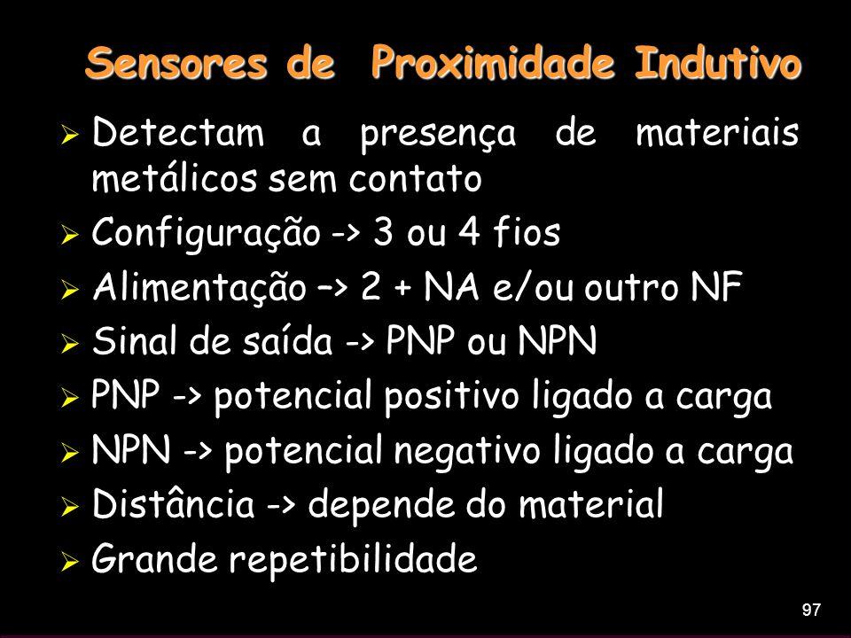 97 Sensores de Proximidade Indutivo Detectam a presença de materiais metálicos sem contato Configuração -> 3 ou 4 fios Alimentação –> 2 + NA e/ou outr