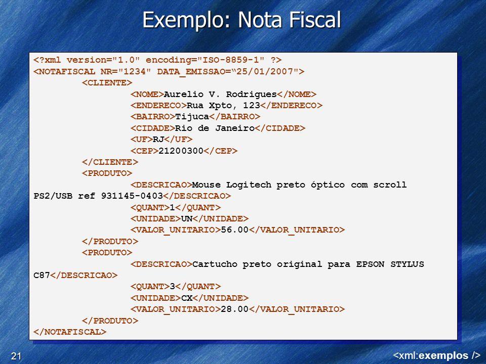 21 Exemplo: Nota Fiscal Aurelio V. Rodrigues Rua Xpto, 123 Tijuca Rio de Janeiro RJ 21200300 Mouse Logitech preto óptico com scroll PS2/USB ref 931145