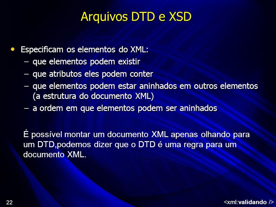 22 Arquivos DTD e XSD Especificam os elementos do XML: Especificam os elementos do XML: –que elementos podem existir –que atributos eles podem conter