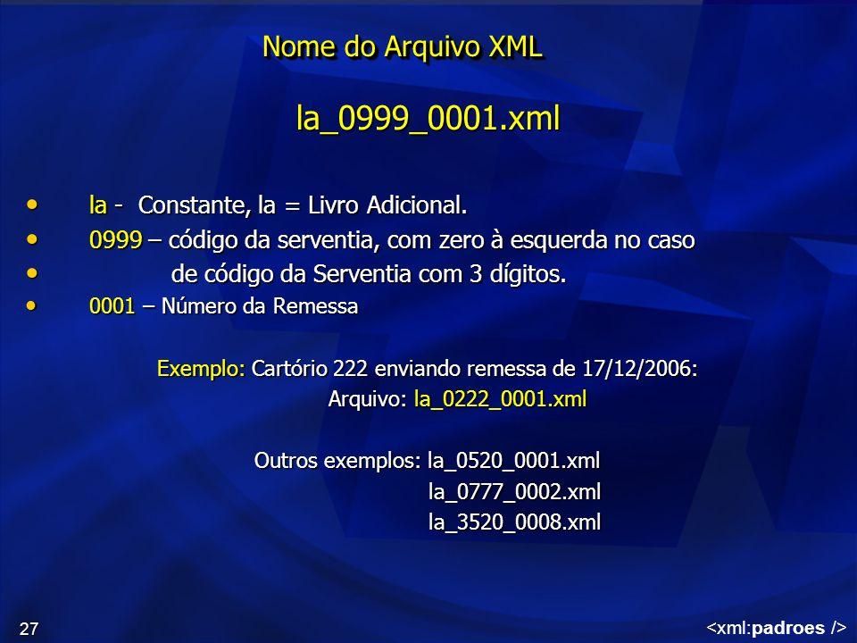 27 Nome do Arquivo XML la_0999_0001.xml la - Constante, la = Livro Adicional. la - Constante, la = Livro Adicional. 0999 – código da serventia, com ze