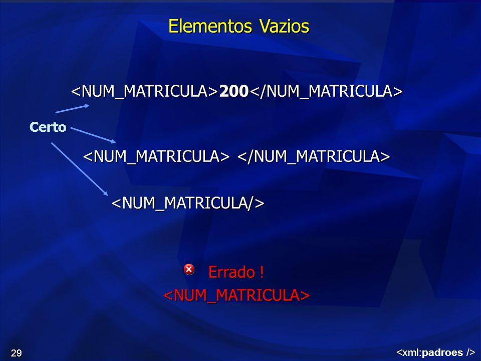 29 Elementos Vazios 200 200 <NUM_MATRICULA/> Errado ! <NUM_MATRICULA> Certo