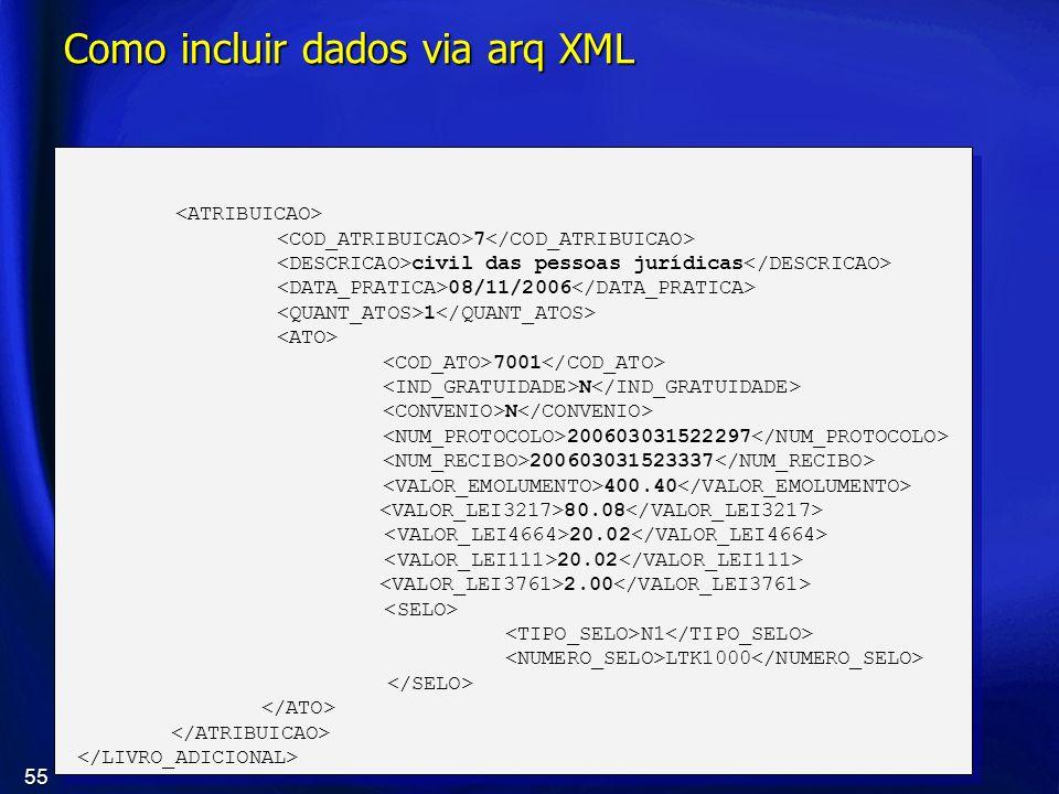 55 Como incluir dados via arq XML 7 civil das pessoas jurídicas 08/11/2006 1 7001 N 200603031522297 200603031523337 400.40 80.08 20.02 2.00 N1 LTK1000