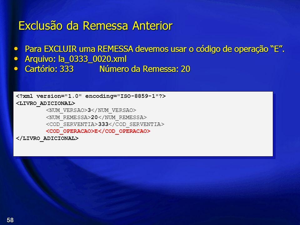 58 Exclusão da Remessa Anterior Para EXCLUIR uma REMESSA devemos usar o código de operação E. Para EXCLUIR uma REMESSA devemos usar o código de operaç