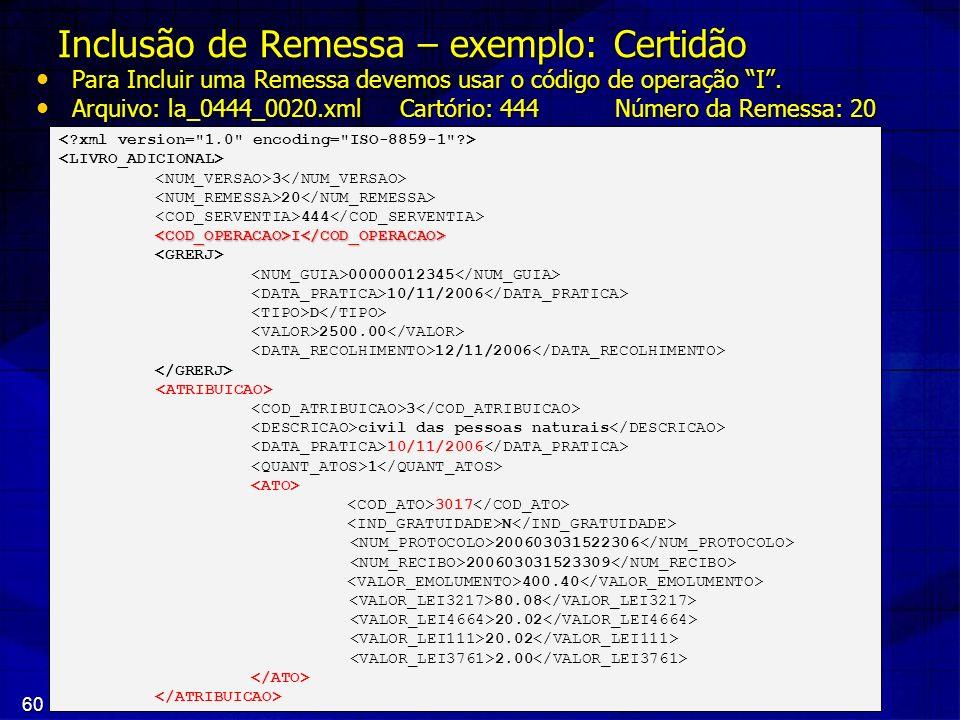 60 Inclusão de Remessa – exemplo: Certidão Para Incluir uma Remessa devemos usar o código de operação I. Para Incluir uma Remessa devemos usar o códig