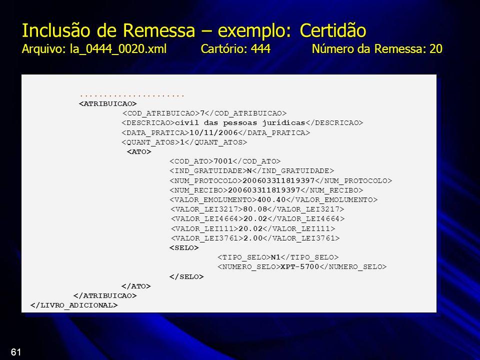 61 Inclusão de Remessa – exemplo: Certidão Arquivo: la_0444_0020.xml Cartório: 444 Número da Remessa: 20...................... 7 civil das pessoas jur