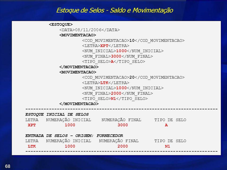 68 Estoque de Selos - Saldo e Movimentação 08/11/2006 10 XPT 1000 3000 A 20 LTK 1000 2000 N1 ---------------------------------------------------------