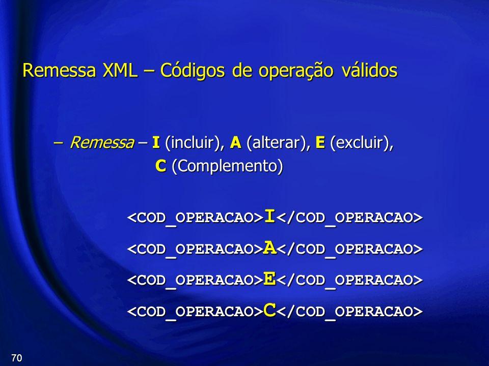 70 Remessa XML – Códigos de operação válidos –Remessa – I (incluir), A (alterar), E (excluir), C (Complemento) C (Complemento) I I A A E E C C