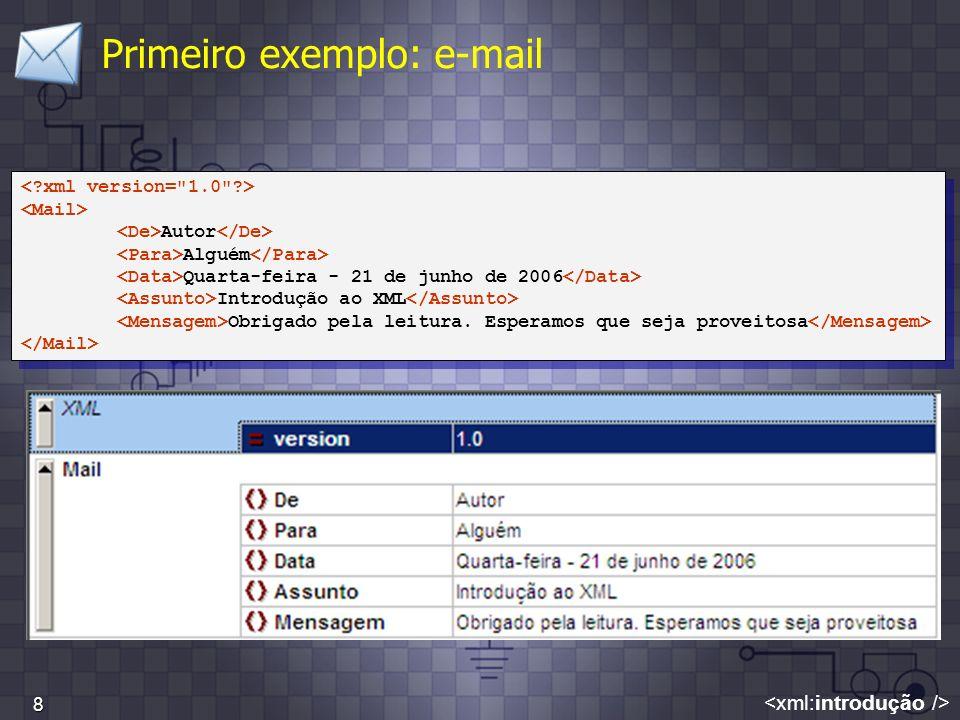 8 Primeiro exemplo: e-mail Autor Alguém Quarta-feira - 21 de junho de 2006 Introdução ao XML Obrigado pela leitura. Esperamos que seja proveitosa Auto