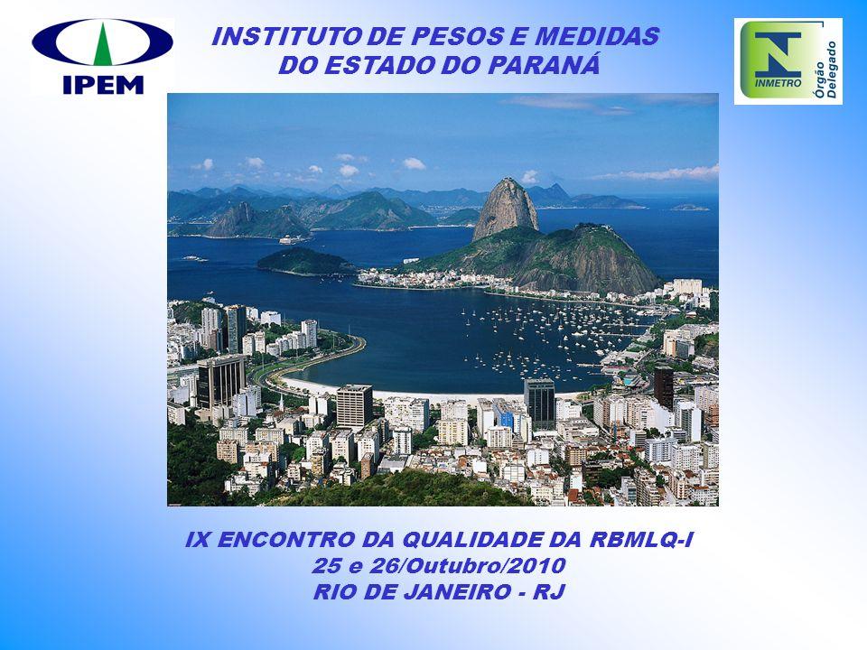 INSTITUTO DE PESOS E MEDIDAS DO ESTADO DO PARANÁ IX ENCONTRO DA QUALIDADE DA RBMLQ-I 25 e 26/Outubro/2010 RIO DE JANEIRO - RJ