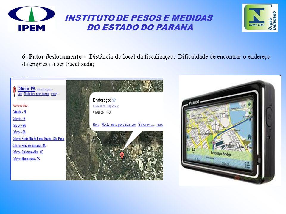 INSTITUTO DE PESOS E MEDIDAS DO ESTADO DO PARANÁ 6- Fator deslocamento - Distância do local da fiscalização; Dificuldade de encontrar o endereço da em