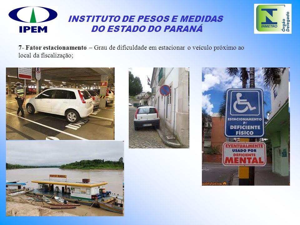 INSTITUTO DE PESOS E MEDIDAS DO ESTADO DO PARANÁ 7- Fator estacionamento – Grau de dificuldade em estacionar o veículo próximo ao local da fiscalizaçã