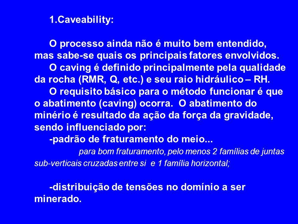 1.Caveability: O processo ainda não é muito bem entendido, mas sabe-se quais os principais fatores envolvidos. O caving é definido principalmente pela