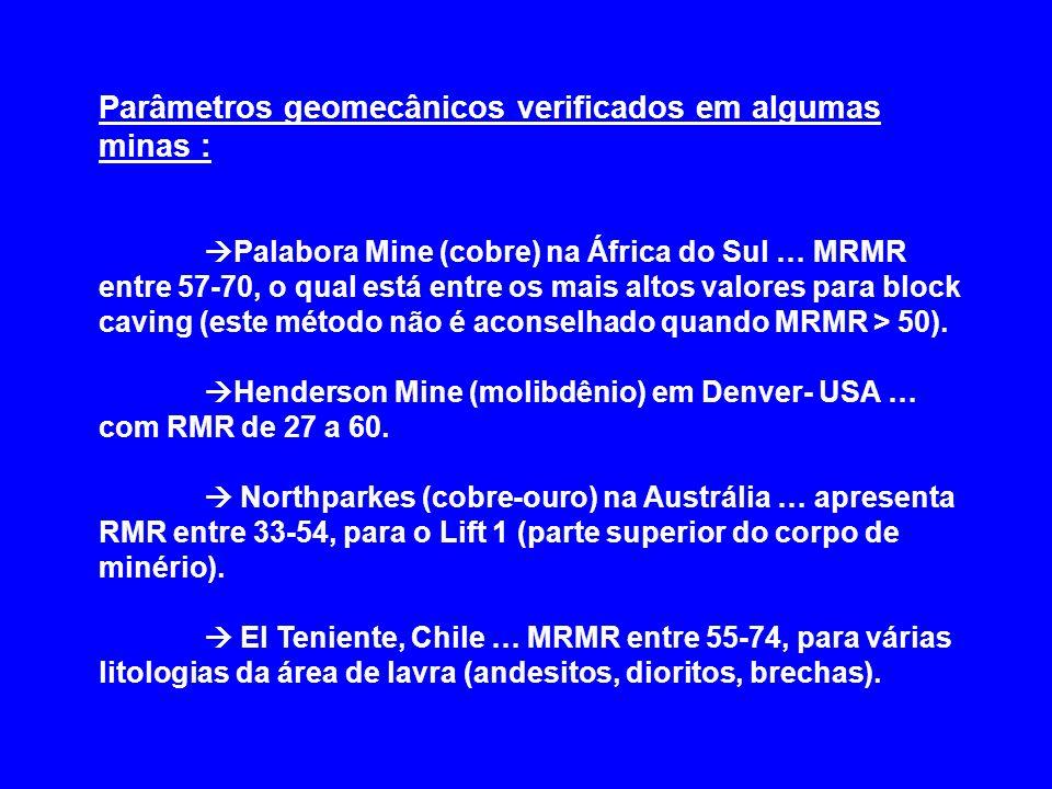 Parâmetros geomecânicos verificados em algumas minas : Palabora Mine (cobre) na África do Sul … MRMR entre 57-70, o qual está entre os mais altos valo