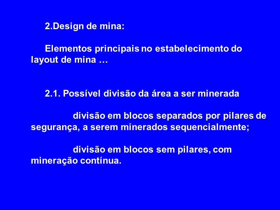 2.Design de mina: Elementos principais no estabelecimento do layout de mina … 2.1. Possível divisão da área a ser minerada divisão em blocos separados