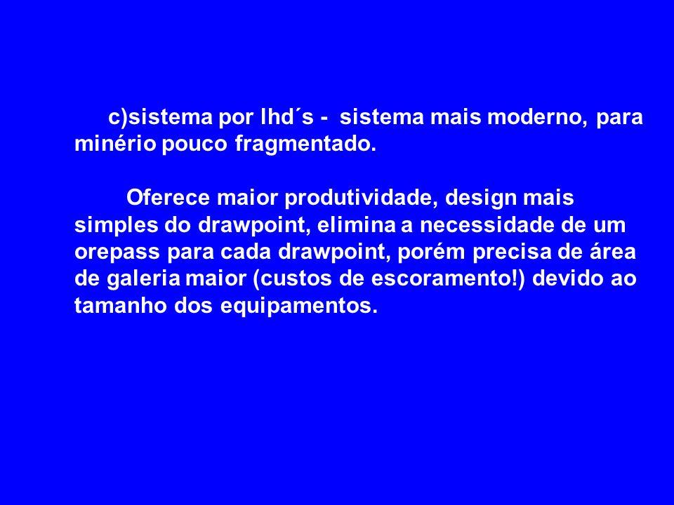 c)sistema por lhd´s - sistema mais moderno, para minério pouco fragmentado. Oferece maior produtividade, design mais simples do drawpoint, elimina a n