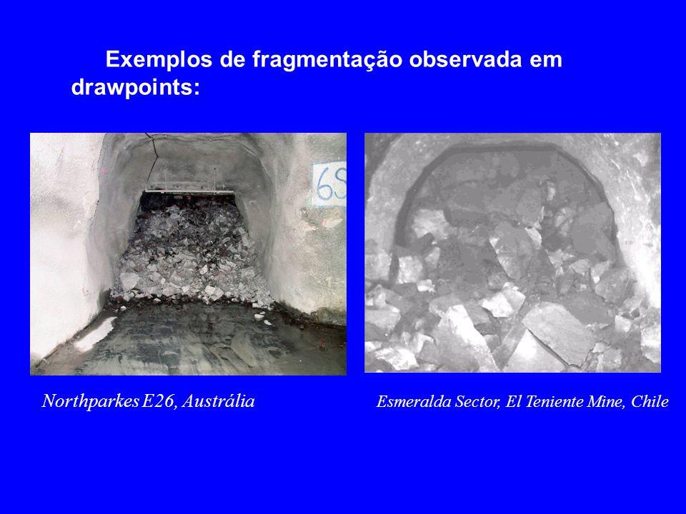 Exemplos de fragmentação observada em drawpoints: Northparkes E26, Austrália Esmeralda Sector, El Teniente Mine, Chile