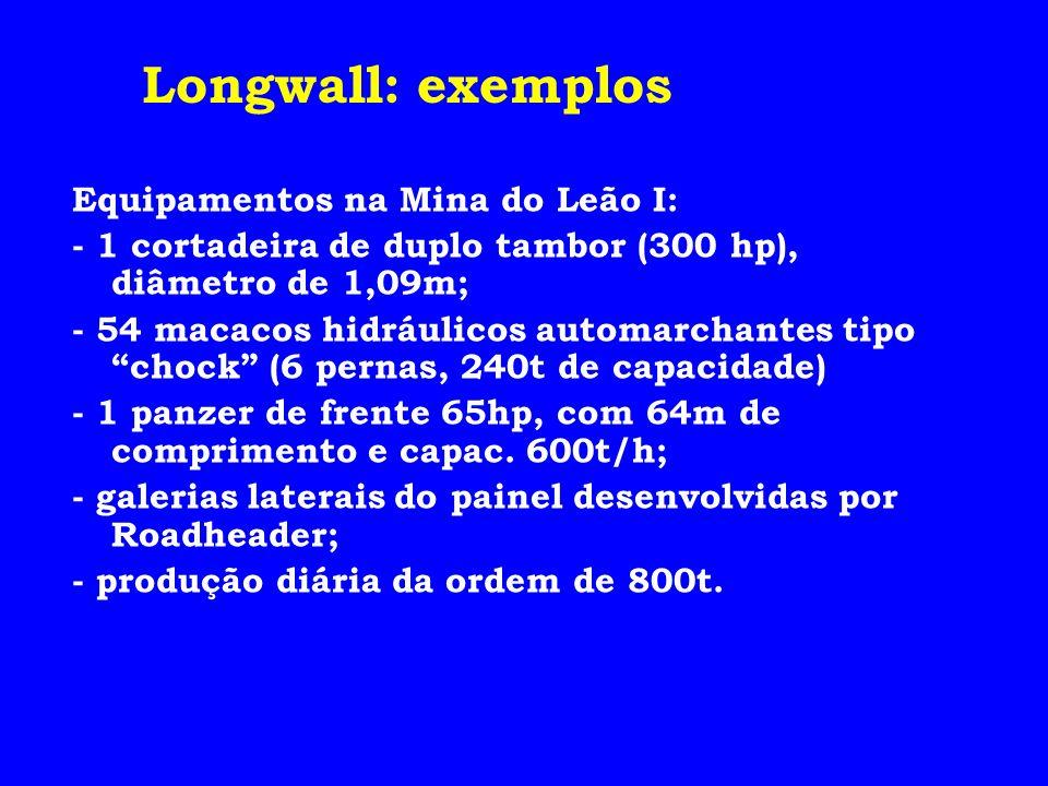 Equipamentos na Mina do Leão I: - 1 cortadeira de duplo tambor (300 hp), diâmetro de 1,09m; - 54 macacos hidráulicos automarchantes tipo chock (6 pern