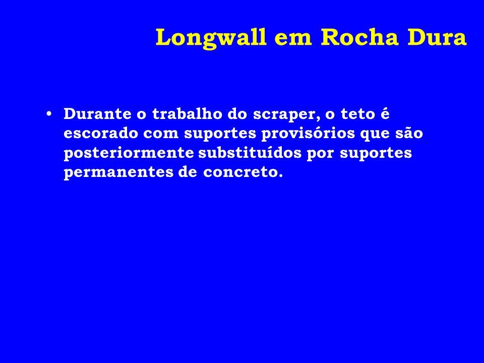 Longwall em Rocha Dura Durante o trabalho do scraper, o teto é escorado com suportes provisórios que são posteriormente substituídos por suportes perm