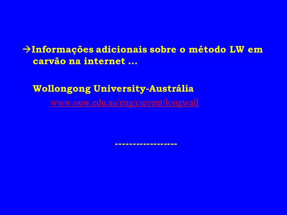 Informações adicionais sobre o método LW em carvão na internet... Wollongong University-Austrália www.ouw.edu.au/eng/current/longwall ----------------