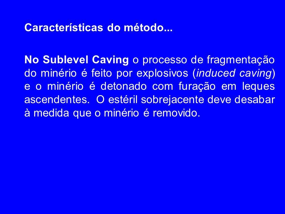 Características do método... No Sublevel Caving o processo de fragmentação do minério é feito por explosivos (induced caving) e o minério é detonado c