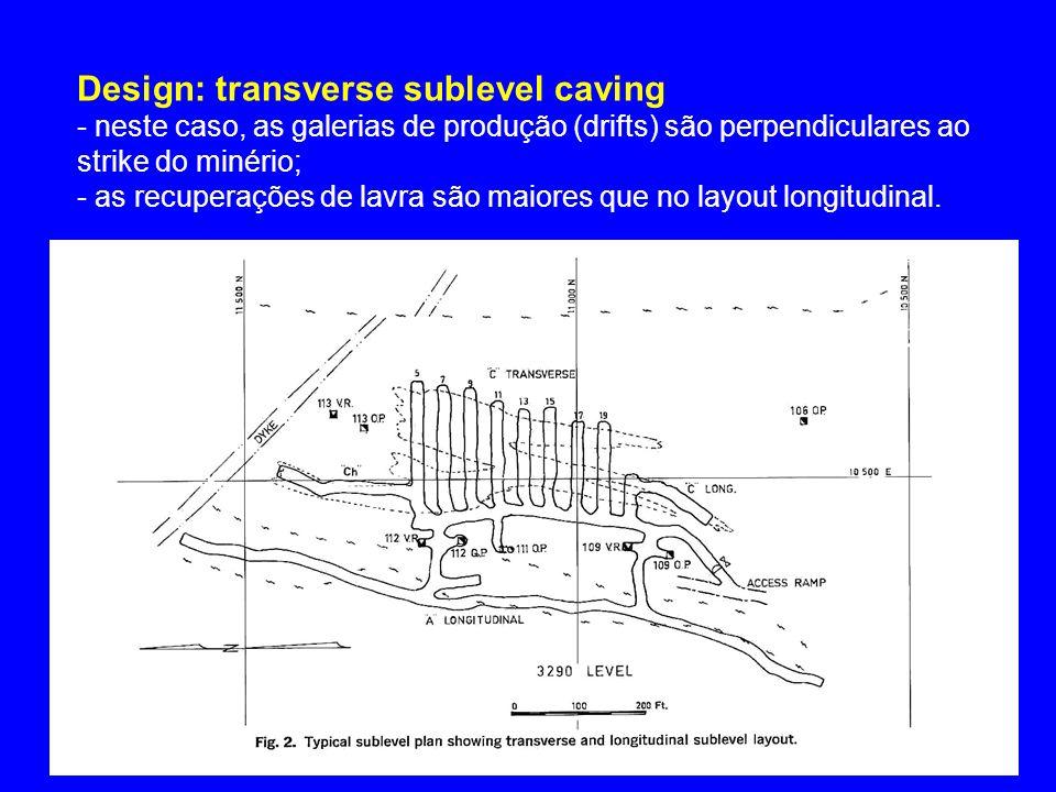 Design: transverse sublevel caving - neste caso, as galerias de produção (drifts) são perpendiculares ao strike do minério; - as recuperações de lavra
