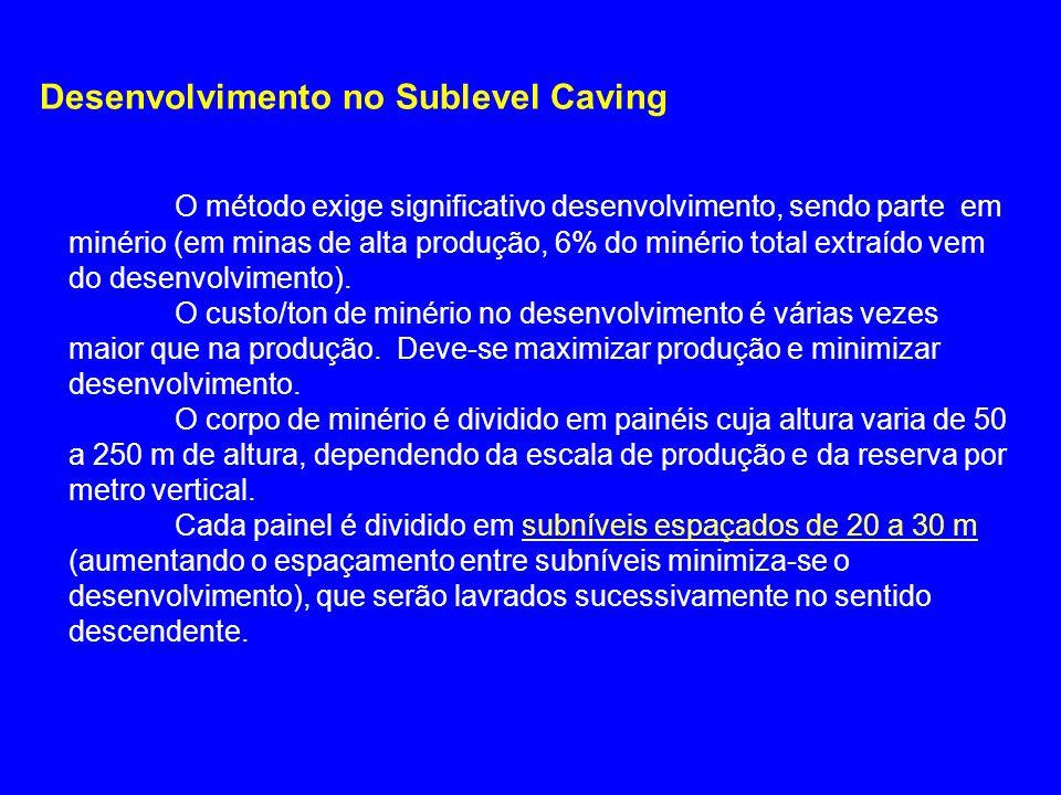 Desenvolvimento no Sublevel Caving O método exige significativo desenvolvimento, sendo parte em minério (em minas de alta produção, 6% do minério tota