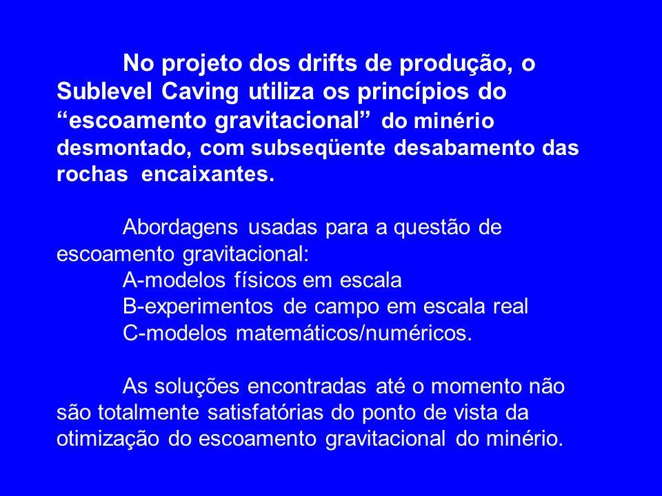 No projeto dos drifts de produção, o Sublevel Caving utiliza os princípios do escoamento gravitacional do minério desmontado, com subseqüente desabame