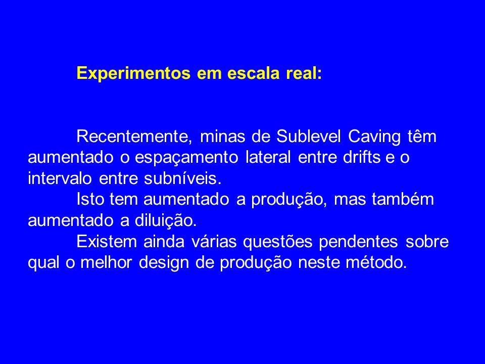 Experimentos em escala real: Recentemente, minas de Sublevel Caving têm aumentado o espaçamento lateral entre drifts e o intervalo entre subníveis. Is