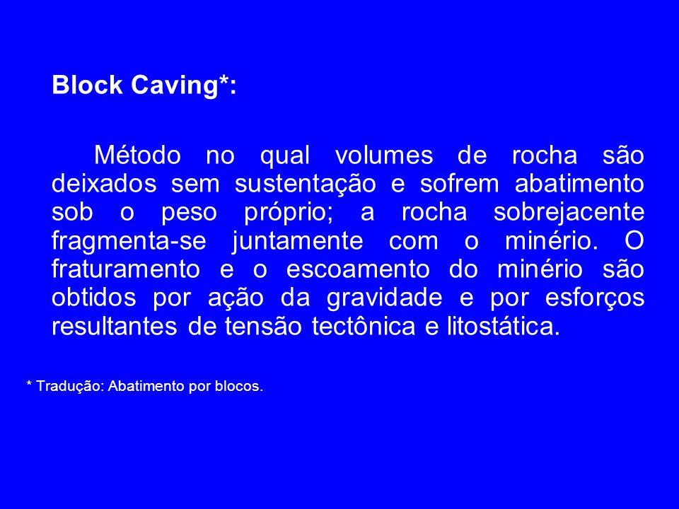 Block Caving*: Método no qual volumes de rocha são deixados sem sustentação e sofrem abatimento sob o peso próprio; a rocha sobrejacente fragmenta-se