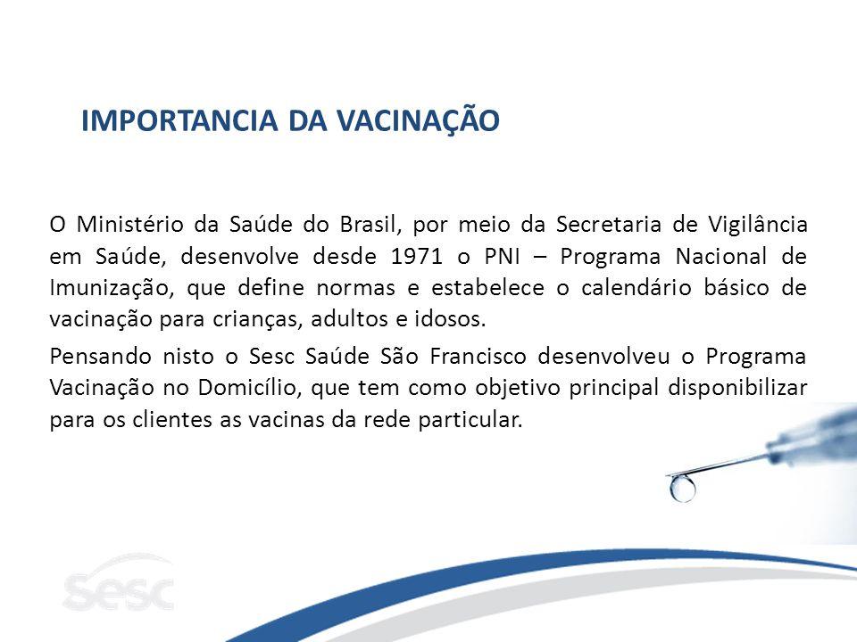 IMPORTANCIA DA VACINAÇÃO O Ministério da Saúde do Brasil, por meio da Secretaria de Vigilância em Saúde, desenvolve desde 1971 o PNI – Programa Nacion