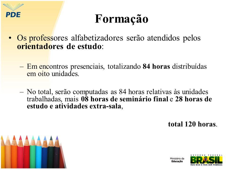 Formação Os professores alfabetizadores serão atendidos pelos orientadores de estudo: –Em encontros presenciais, totalizando 84 horas distribuídas em oito unidades.