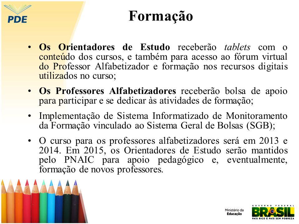 Formação Os Orientadores de Estudo receberão tablets com o conteúdo dos cursos, e também para acesso ao fórum virtual do Professor Alfabetizador e for